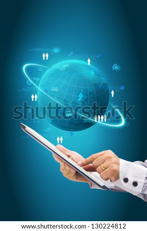 Hand touching screen on computer tablet PC, With Information technology business concept, Global network process diagram