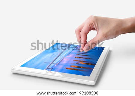 Hand touching screen on white tablet pc. Close-up finger