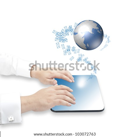 Hand touching tablet PC with incoming mails and floating digital globe for internet, social connectivity