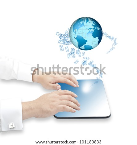 Hand touching tablet PC with incoming mails and globe for internet, social connectivity