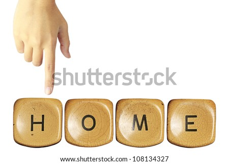 Hand touching the home word On white background.