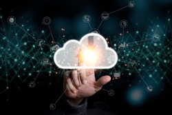 Hand touching to virtual artificial intelligence with cloud technology transformation and internet of thing .  Cloud technology management big data include business strategy , customer service.