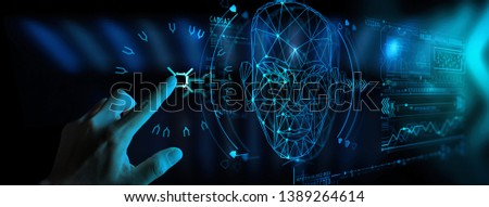 Hand touching UI for Unlocking with face identification. Facial recognition concept. #1389264614