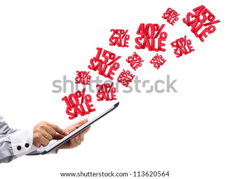 hand touchpad pc with Discounts 3D, isolated on white background