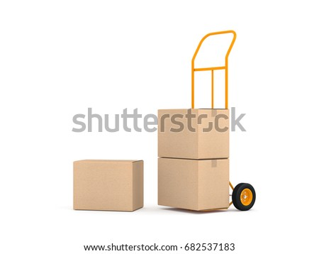 Hand Truck and three brown cardboard boxes on white background, 3d rendering