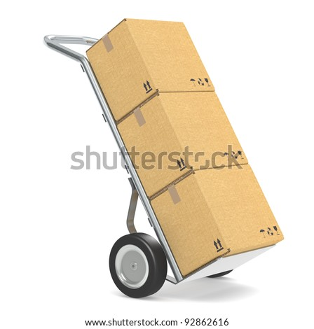 Hand truck . Hand truck with cardboard boxes. Part of warehouse and logistics series.