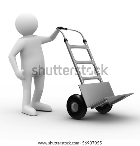 hand truck on white background. Isolated 3D image - stock photo