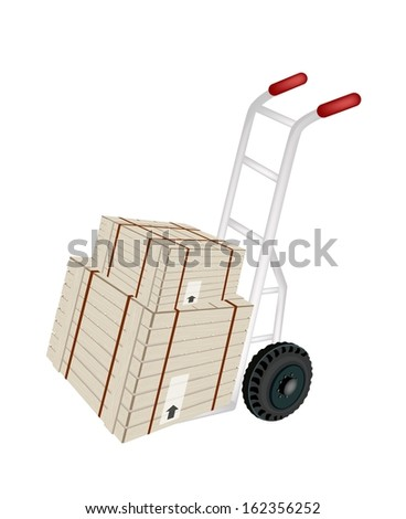 Hand Truck or Dolly Loading Two Wooden Crate or Cargo Box Wrapped in Steel Banding Isolated on White Background, Ready for Shipping or Delivery.
