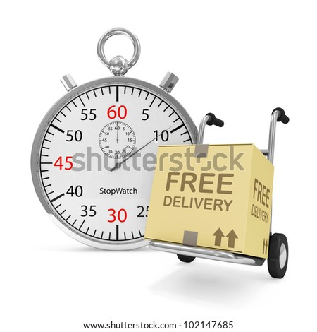 Hand truck with a box and Stopwatch on white background (Express Delivery Concept)