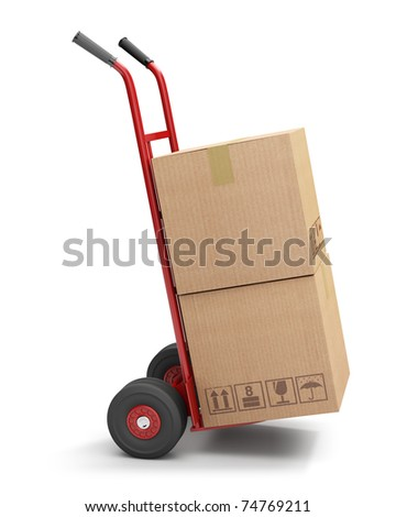 Hand truck with 2 cardboard boxes, isolated on white (3d illustration)