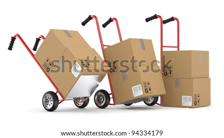 Hand trucks and cardboard boxes. 3D model isolated on white background