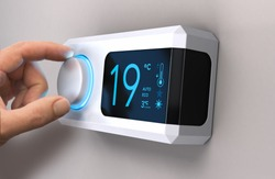 Hand turning a home thermostat knob to set temperature on energy saving mode. Celsius units. Composite image between a photography and a 3D background.