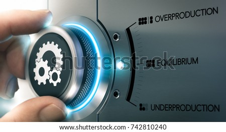 Hand turning a knob over metallic background with the words overproduction, equilibrium and underproduction. Concept of supply and demand. Composite image between a hand photography and a 3D render.