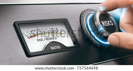 Hand turning a knob to select low risks investment. Concept of risk and reward ratio. Composite image between a hand photography and a 3D background.