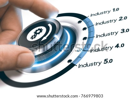 Hand turning a knob with gears icon over white background. Concept of industrial revolutions steps and industry 4.0. Composite image between a photography and a 3D background.