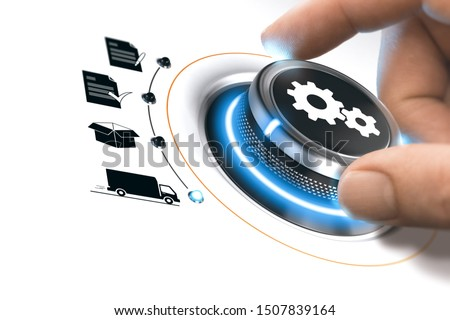 Hand turning a process knob over white to fullfill an order. Concept of e-commerce. Composite image between a photography and a 3D background. Photo stock ©