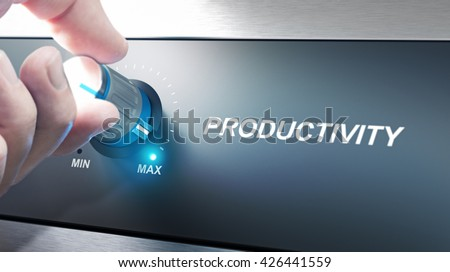 Hand turning a productivity knob. Concept for productivity management. Composite image between an photography and a 3D background. #426441559