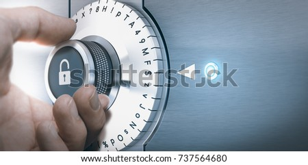 Hand turning a safe lock dial with numbers, punctuations, letters and symbols. Concept of Safe and secured password generation. Composite image between a hand photography and a 3D background. Stock photo ©