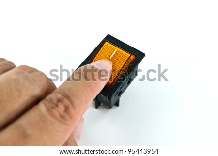 Hand turning off electrical switch