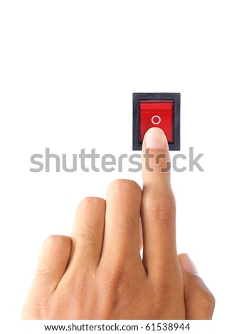 hand turning on electrical switch