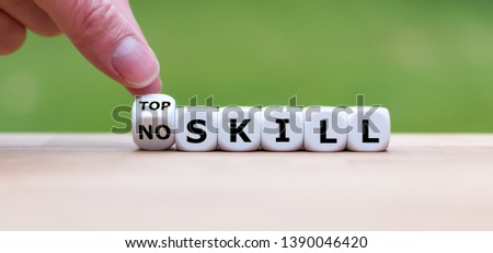 "Hand turns a dice and changes the expression ""no skill"" to ""top skill"". #1390046420"