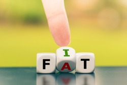 Hand turns a dice and changes the word fat to fit.