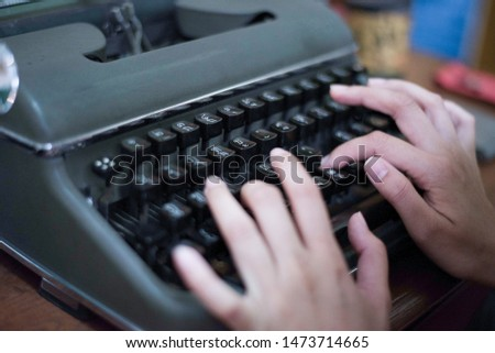 Hand type copy typing machine retro journalism letter vintage classic keyboard old message text office