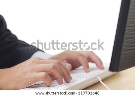 Hand typing computer keyboard