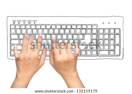 Hand typing computer keyboard isolated on white