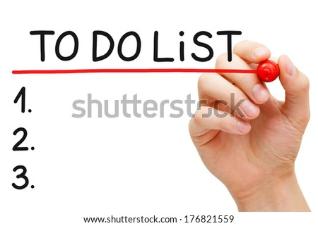 Hand underlining To Do List with red marker isolated on white.