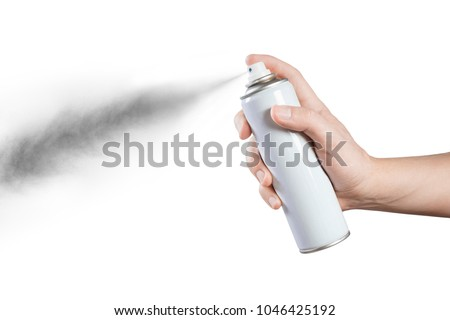 Hand using a spray, isolated on white background