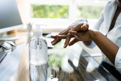 Hand Using Alcohol Rub Gel Or Handwash Disinfectant