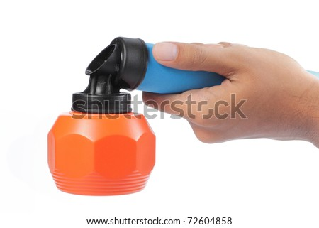 hand using bug spray. isolated over white background