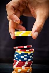 Hand using poker chips