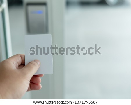 Key card in electronic lock with copy space  Images and