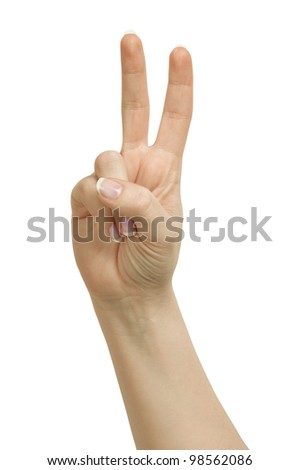 Hand - victory sign isolated on white background