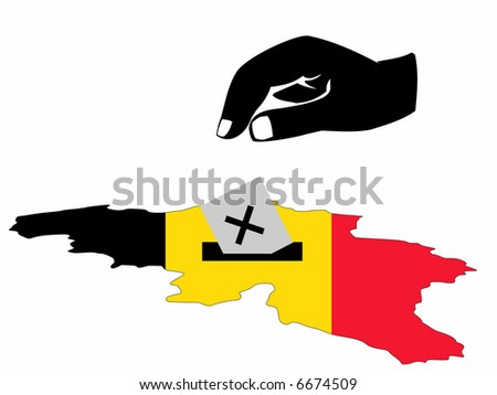 hand voting with ballot in Belgian election JPG