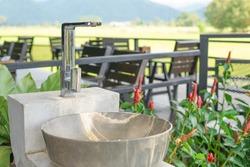 hand washing basin service at garden resort restaurant for service tourist to prevent coronavirus outbreak