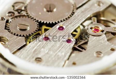 Hand watch mechanism macro image