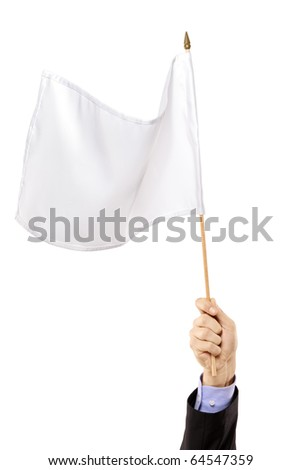 Hand waving a white flag isolated on white background