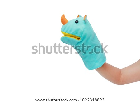 Hand wearing Rhinoceros puppets isolated on white background, Rhinoceros head.