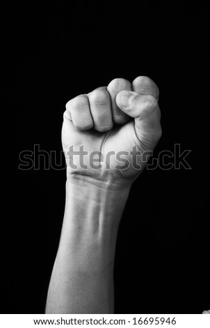 Hand whit victory signal - stock photo