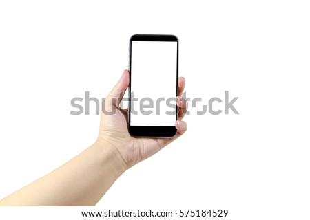 hand with a black mobile with white screen at isolated background #575184529
