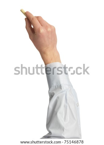 hand with a chalk against white background