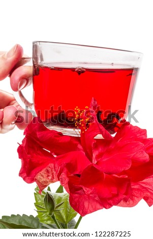 Hand with a cup of hot tea and hibiscus flower. Isolated on white background