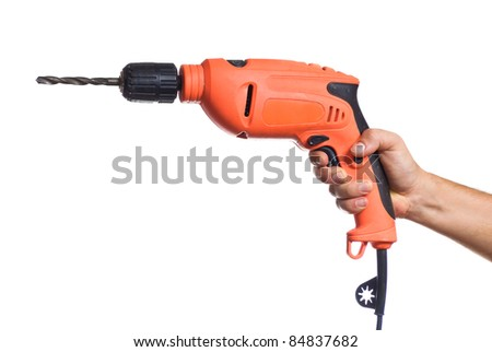 Hand with a drill. Isolated on white background