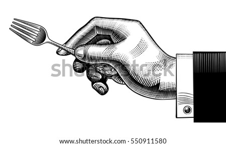 Hand with a fork. Vintage stylized drawing