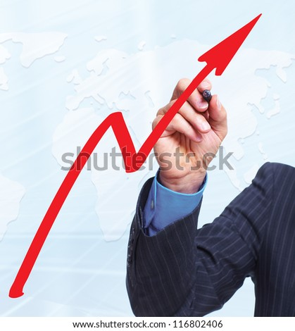 Hand with a graph. Business concept background.