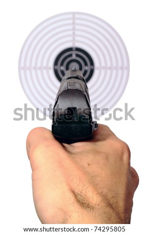 Hand with a gun pointing at the target