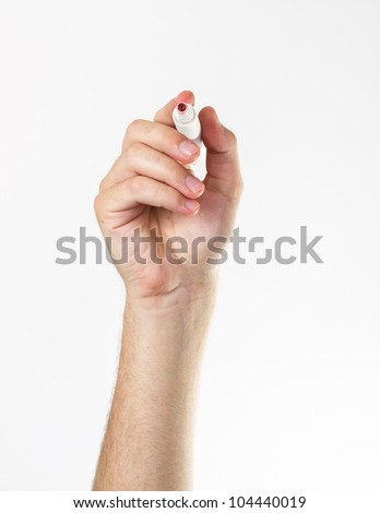 Hand with a marker isolated over white.